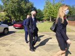 Former SCANA Corp. Senior Vice President Stephen Byrne enters the Matthew J. Perry, Jr. Courthouse in Columbia, S.C. to enter a guilty plea to one count of conspiracy to commit mail and wire fraud Thursday, July 23, 2020. Byrne agreed to cooperate with prosecutors in a federal investigation into the failed V.C. Summer nuclear project in South Carolina. (AP Photo/Michelle Liu)