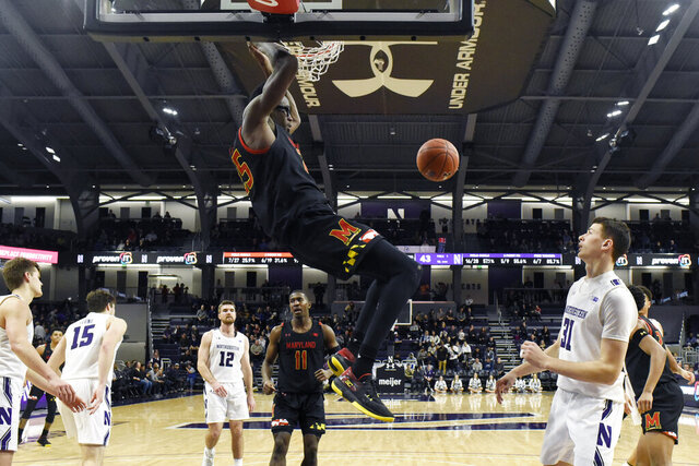 Maryland forward Jalen Smith (25) dunks the ball against Northwestern during the second half of an NCAA college basketball game, Tuesday, Jan. 21, 2020, in Evanston, Ill. (AP Photo/David Banks)