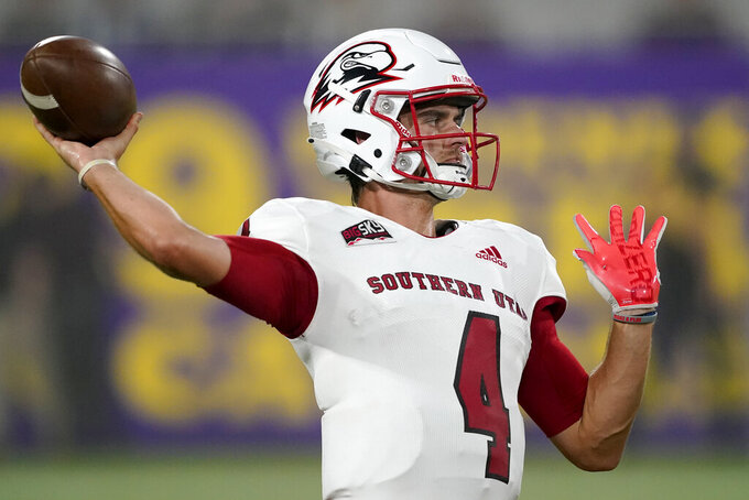 Southern Utah quarterback Justin Miller (4) warms up prior to an NCAA college football game against Arizona State, Thursday, Sept. 2, 2021, in Tempe, Ariz. (AP Photo/Matt York)