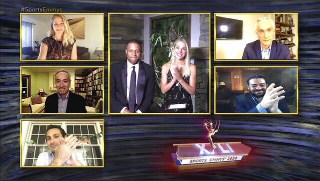 This image released by National Academy of Television Arts & Sciences (NATAS) shows presenters Craig Melvin and Lindsay Czarniak, center, and nominees for outstanding sports journalism, clockwise from top left, Nicole Noren, Jorge Ramos, Josh Fine, Jake Rosenwasser and Greg Amante during the 41st Sports Emmy Awards Ceremony, honoring TV's best sports coverage. (NATAS via AP)