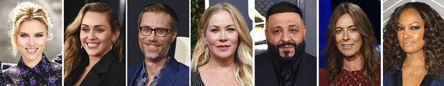 This combination photo of celebrities with birthdays from Nov. 22-28 shows, from left, Scarlett Johansson, Miley Cyrus, Stephen Merchant, Christina Applegate, DJ Khaled, Kathryn Bigelow and Garcelle Beauvais. (AP Photo)