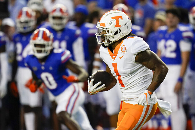 Tennessee's Velus Jones Jr. (1) returns a kickoff against Florida during the first half of an NCAA college football game, Saturday, Sept. 25, 2021, in Gainesville, Fla. (AP Photo/John Raoux)