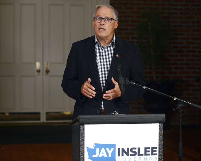 Gov. Jay Inslee thanks the voters of Washington state after winning his third term, Tuesday, Nov. 3, 2020 in Olympia Wash. (Steve Bloom/The Olympian via AP)