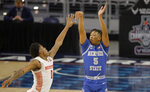Memphis guard Boogie Ellis (5) watches his 3-point shot attempt as Houston guard Marcus Sasser (0) defends during the first half of an NCAA college basketball game in the semifinal round of the American Athletic Conference tournament Saturday, March 13, 2021, in Fort Worth, Texas. (AP Photo/Ron Jenkins)