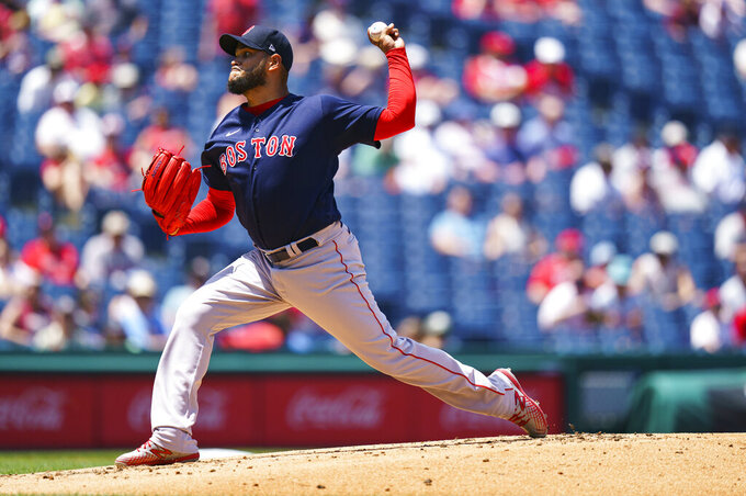 Boston Red Sox starting pitcher Eduardo Rodriguez throws during the first inning of a baseball game against the Philadelphia Phillies, Sunday, May 23, 2021, in Philadelphia. (AP Photo/Chris Szagola)