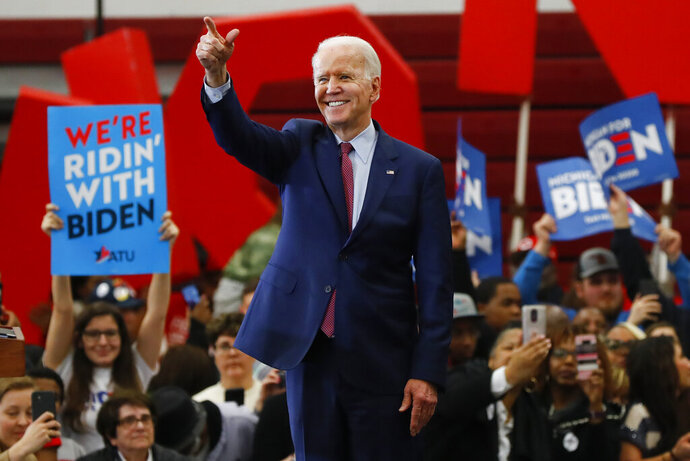 FILE - In this March 9, 2020, file photo, Democratic presidential candidate former Vice President Joe Biden speaks during a campaign rally at Renaissance High School in Detroit. (AP Photo/Paul Sancya, File)