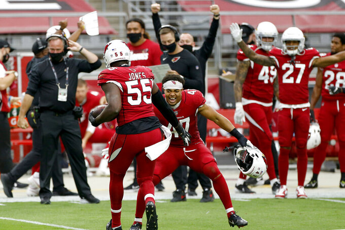 Arizona Cardinals linebacker Chandler Jones (55) celebrates his fumble recovery against the Washington Football Team with Zeke Turner (47) during the first half of an NFL football game, Sunday, Sept. 20, 2020, in Glendale, Ariz. (AP Photo/Darryl Webb)