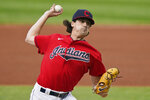 Cleveland Indians starting pitcher Cal Quantrill deliver in the first inning of a baseball game against the Chicago White Sox, Tuesday, Sept. 22, 2020, in Cleveland. (AP Photo/Tony Dejak)