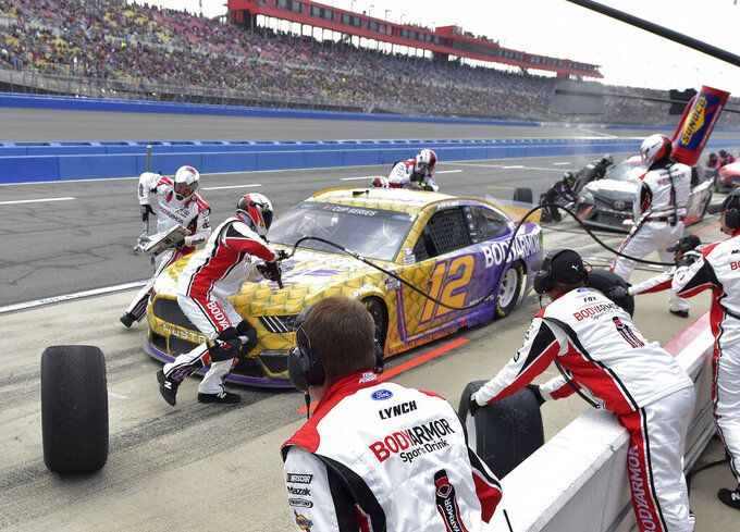 Ryan Blaney makes a pit stop during a NASCAR Cup Series auto race Sunday, March 1, 2020 in Fontana, Calif. (AP Photo/Will Lester)