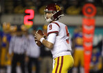 Southern California quarterback Kedon Slovis looks to pass against California in the first quarter of an NCAA college football game Saturday, Nov. 16, 2019, in Berkeley, Calif. (AP Photo/Ben Margot)