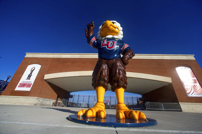 Liberty University's Sparky the Eagle is seen before an NCAA football game on Saturday, Nov 14, 2020, at Williams Stadium in Lynchburg, Va. (AP Photo/Shaban Athuman)