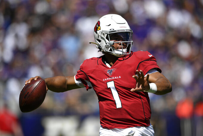 Arizona Cardinals quarterback Kyler Murray throws to a receiver in the first half of an NFL football game against the Baltimore Ravens, Sunday, Sept. 15, 2019, in Baltimore. (AP Photo/Nick Wass)