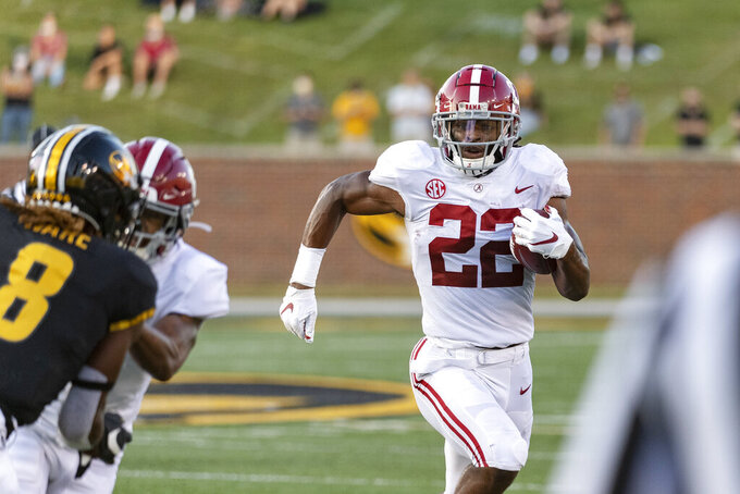 Alabama running back Najee Harris runs the ball during the first quarter of an NCAA college football game against Missouri, Saturday, Sept. 26, 2020, in Columbia, Mo. (AP Photo/L.G. Patterson)