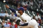 Milwaukee Brewers starter Freddy Peralta throws during the first inning of a baseball game against the St. Louis Cardinals Friday, Sept. 3, 2021, in Milwaukee. (AP Photo/Morry Gash)
