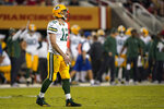 Green Bay Packers quarterback Aaron Rodgers (12) reacts during the first half of an NFL football game against the San Francisco 49ers in Santa Clara, Calif., Sunday, Nov. 24, 2019. (AP Photo/Tony Avelar)