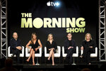 Michael Ellenberg, from left, Jennifer Aniston, Reese Witherspoon, Billy Crudup and Mimi Leder speak at