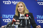 Former Israeli Foreign Minister Tzipi Livni gives a press conference in Tel Aviv, Israel, Monday, Feb. 18, 2019. Livni, on Monday, announced her retirement from politics. (AP Photo/Sebastian Scheiner)