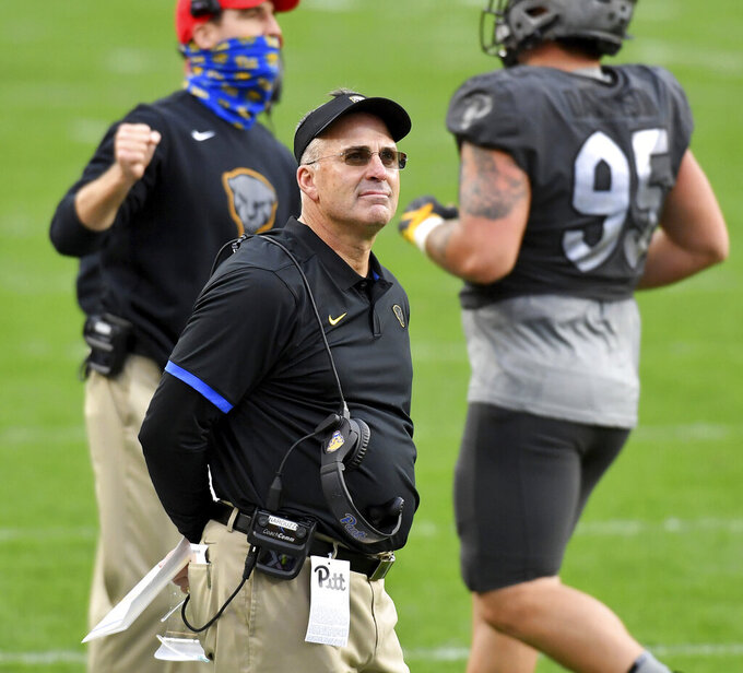 Pitt head coach Pat Narduzzi looks to the jumbotron after a Notre Dame touchdown in the second quarter at Heinz Field Saturday, Oct. 24, 2020, in Pittsburgh. (Matt Freed/Pittsburgh Post-Gazette via AP)