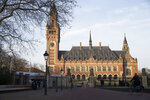 Exterior view of the Peace Palace, which houses the International Court of Justice, or World Court, in The Hague, Netherlands, Monday, Feb. 18, 2019. India is taking Pakistan to the United Nations' highest court in an attempt to save the life of an Indian naval officer sentenced to death last month by a Pakistani military court after being convicted of espionage.(AP Photo/Peter Dejong)