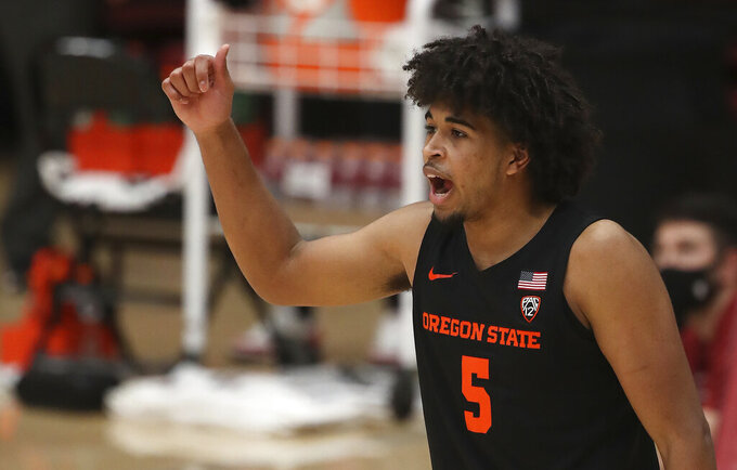 Oregon State guard Ethan Thompson (5) reacts during the second half of an NCAA college basketball game against Stanford in Stanford, Calif., Saturday, Feb. 27, 2021. (AP Photo/Josie Lepe)