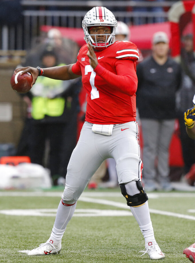 Ohio State quarterback Dwayne Haskins throws a pass against Michigan during the first half of an NCAA college football game Saturday, Nov. 24, 2018, in Columbus, Ohio. (AP Photo/Jay LaPrete)