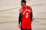 Houston Rockets' Russell Westbrook wears