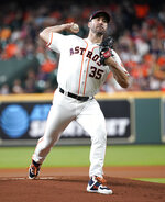 Houston Astros starting pitcher Justin Verlander throws against the Los Angeles Angels during the first inning of a baseball game Friday, July 5, 2019, in Houston. (AP Photo/David J. Phillip)
