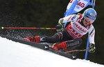 United States' Mikaela Shiffrin competes in the first run of an alpine ski, women's World Cup giant slalom, in Spindleruv Mlyn, Czech Republic, Friday, March. 8, 2019. (AP Photo/Marco Tacca)
