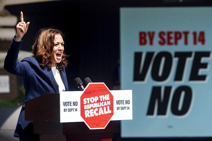 Vice President Kamala Harris speaks against the recall election of California Gov. Gavin Newsom on Wednesday, Sept. 8, 2021, in San Leandro, Calif. (AP Photo/Noah Berger)