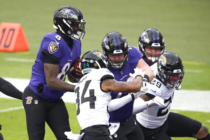 Baltimore Ravens quarterback Lamar Jackson (8) scores on a keeper against the Jacksonville Jaguars during the second half of an NFL football game, Sunday, Dec. 20, 2020, in Baltimore. (AP Photo/Nick Wass)