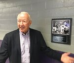 In this Sept. 11, 2019 photo, Jerry Pierce, Vice President of external affairs at Northwestern State University, attended the Sept. 20, 1973 Jim Croce concert, an event commemorated here with a plaque at Prather Coliseum in Natchitoches, La.. Croce and five others were killed in a plane crash on Sept. 20, 1973. (Greg Hilburn/The News-Star via AP)