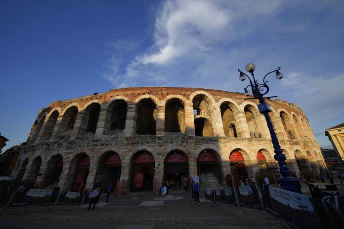 A view of the Arena in Verona, Italy, Friday, June 25, 2021. The opening ceremony for the Milan-Cortina Winter Paralympics in 2026 has been switched from Milan to Verona in a cost-cutting move. The ceremony was slated for the PalaItalia Santa Giulia being built in Milan but will now be held at Verona's Arena. The large Roman amphitheater in Verona was already slated to host the closing ceremony of the 2026 Olympics. (AP Photo/Luca Bruno)