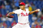 Philadelphia Phillies' Ranger Suarez pitches during the first inning of a baseball game against the Chicago Cubs, Wednesday, Sept. 15, 2021, in Philadelphia. (AP Photo/Matt Slocum)