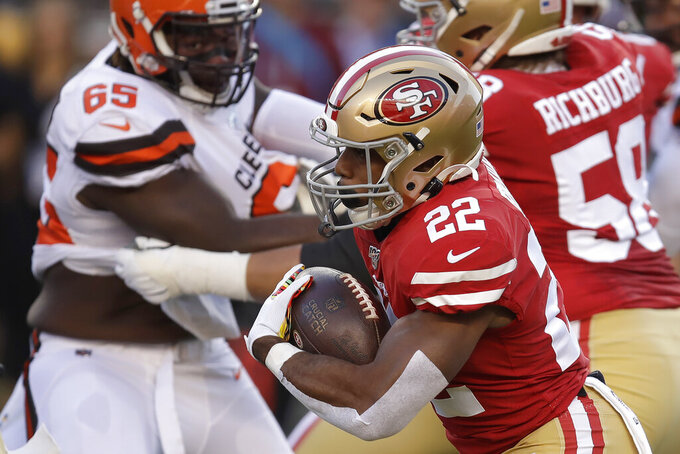San Francisco 49ers running back Matt Breida (22) runs for a touchdown against the Cleveland Browns during the first half of an NFL football game in Santa Clara, Calif., Monday, Oct. 7, 2019. (AP Photo/Ben Margot)