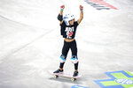 FILE - Sky Brown, 11, celebrates after maxing out her time on her first run during the women's skateboard park qualifier round at the X Games in Minneapolis, in this Friday, Aug, 2, 2019, file photo. It's understandable if names such as skateboarder Sky Brown, Denver Nuggets center Bol Bol or French Open champion Iga Swiatek don't ring an instant bell. Just wait, though. By the time 2021 ends, they could be making an even bigger name for themselves. (Nicole Neri/Star Tribune via AP, File)