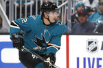 San Jose Sharks center Patrick Marleau skates against the Calgary Flames during the first period of an NHL hockey game in San Jose, Calif., Sunday, Oct. 13, 2019. (AP Photo/Jeff Chiu)