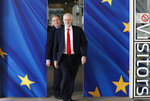 FILE - In this Thursday, March 21, 2019 file photo British Labour Party leader Jeremy Corbyn, right, and Keir Starmer, Labour Shadow Brexit secretary, leave EU headquarters prior to an EU summit in Brussels. (AP Photo/Frank Augstein, File)