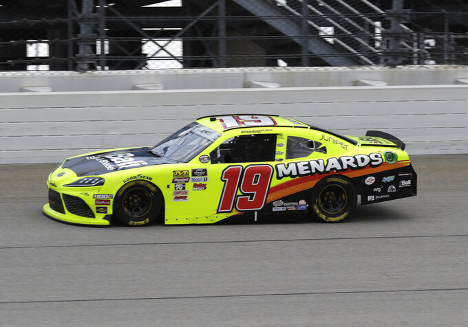 Brandon Jones drives during the NASCAR Xfinity Series auto race at Chicagoland Speedway in Joliet, Ill., Saturday, June 29, 2018. (AP Photo/Nam Y. Huh)