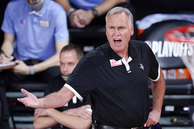 Houston Rockets head coach Mike D'Antoni yells from the bench during the second half of an NBA conference semifinal playoff basketball game against the Los Angeles Lakers Saturday, Sept. 12, 2020, in Lake Buena Vista, Fla. (AP Photo/Mark J. Terrill)
