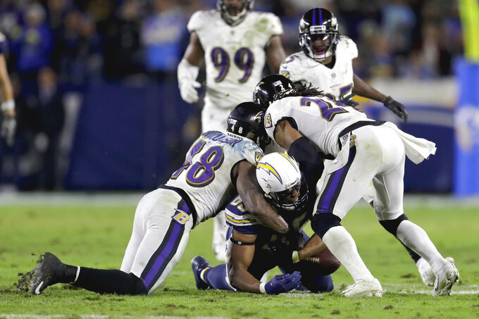 FILE - In this Dec. 22, 2018, file photo, Baltimore Ravens inside linebacker Patrick Onwuasor, left, and cornerback Brandon Carr force a fumble by Los Angeles Chargers tight end Antonio Gates during the second half in an NFL football game, in Carson, Calif. Some juicy rematches highlight wild-card weekend, in which, well, just about any of the eight teams advancing wouldn't be a surprise. Seattle beat Dallas early this season, and Baltimore handled the Los Angeles Chargers late. The Colts and Texans split two games. Only the Eagles and Bears didn't face off.(AP Photo/Marcio Jose Sanchez, File)