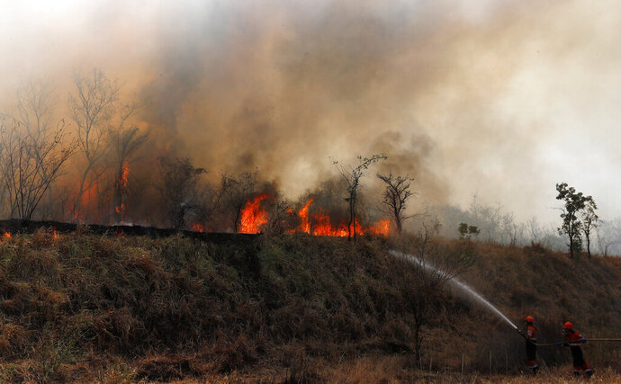 Firefighters work to put out a fire in the Chiquitania forest on the outskirts of Robore, Bolivia, Friday, Aug. 30, 2019. While some of the fires are burning in Bolivia's share of the Amazon, the largest blazes were in the Chiquitania region of southeastern Bolivia. It's zone of dry forest, farmland and open prairies that has seen an expansion of farming and ranching in recent years.  (AP Photo/Juan Karita)