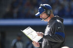 Indianapolis Colts head coach Frank Reich looks at the play chart during the first half of an NFL football game against the Denver Broncos, Sunday, Oct. 27, 2019, in Indianapolis. (AP Photo/AJ Mast)