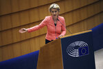 European Commission President Ursula von der Leyen addresses the plenary during her first State of the Union speech at the European Parliament in Brussels, Wednesday, Sept. 16, 2020. European Commission President Ursula von der Leyen will set out her vision of the future in her first State of the European Union address to the EU legislators. Weakened by the COVID-19 pandemic and the departure of the United Kingdom, she will center her speech on how the bloc should adapt to the challenges of the future, including global warming, the switch to a digital economy and immigration. (AP Photo, Francisco Seco)