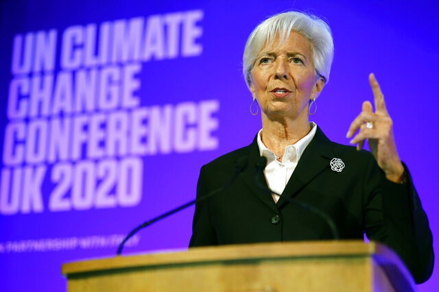 President of the European Central Bank Christine Lagarde addresses an event to launch the private finance agenda for the 2020 United Nations Climate Change Conference COP26 at Guildhall in London, Thursday Feb. 27, 2020. The 2020 United Nations Climate Change Conference COP26 will be hosted in Glasgow from November 9 - November 19, 2020 under the presidency of the UK. (Tolga Akmen/Pool via AP)