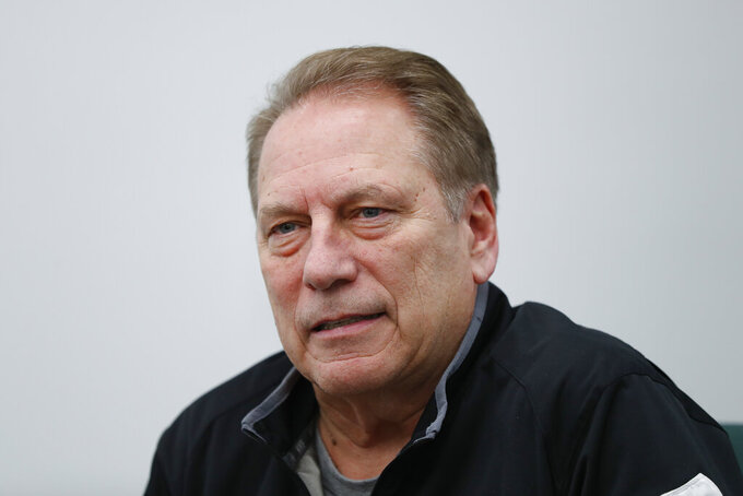 Michigan State head basketball coach Tom Izzo speaks in East Lansing, Mich., Monday, Feb. 18, 2019. Izzo and Michigan coach John Beilein are friendly rivals, whose highly ranked NCAA college basketball teams will play for the first time this season on Sunday at Crisler Arena. As much as Beilein and Izzo genuinely like and respect each other, the highly competitive coaches want to win. (AP Photo/Paul Sancya)