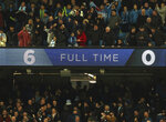Manchester City fans celebrate at the end of the English Premier League soccer match between Manchester City and Chelsea at Etihad stadium in Manchester, England, Sunday, Feb. 10, 2019. (AP Photo/Jon Super)
