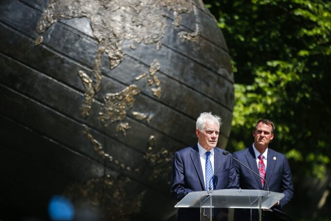 John O'Connor speaks after his appointment as Oklahoma's Attorney General by Gov. Kevin Stitt, on Friday, July 23, 2021, in Tulsa, Okla. O'Connor fills a vacancy left in May when former Attorney General Mike Hunter stepped down suddenly. (Michael Noble Jr./Tulsa World via AP)