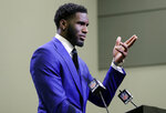 Carolina Panthers draft choice Brian Burns speaks to the media during a news conference for the NFL football team in Charlotte, N.C., Friday, April 26, 2019. (AP Photo/Chuck Burton)