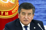 FILE In this file photo taken on Friday, Aug. 9, 2019, Kyrgyzstan's President Sooronbai Jeenbekov speaks at the Eurasian Economic Union Intergovernmental Council in Cholpon-Ata, Kyrgyzstan. The president of Kyrgyzstan announced his resignation in a bid to end the turmoil that has engulfed the Central Asian nation after a disputed parliamentary election. In a statement Thursday, Oct. 15, 2020 released by his office. (Yekaterina Shtukina, Sputnik, Government Pool Photo via AP, File)