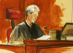 In this courtroom sketch U.S. District Judge Richard Berman speaks during the sentencing of Turkish banker Mehmet Hakan Atilla, Wednesday, May 16, 2018, in New York. Berman imposed a sentence of 32 months in prison on Atilla who was convicted of helping Iran evade U.S. sanctions. (Elizabeth Williams via AP)